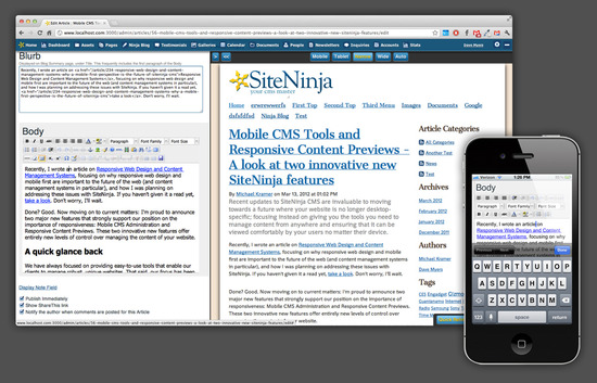 Mobile CMS Tools and Responsive Content Previews - A look at two innovative new SiteNinja features